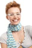 Szczęśliwa kobieta zbliżenie portret Zdjęcia Royalty Free