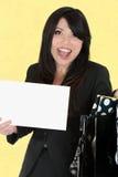 szczęśliwa kobieta znak gospodarstwa Obraz Royalty Free