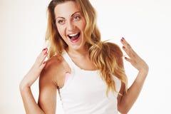 Szczęśliwa kobiety radość, emocja, szczerość, niedbalstwa pojęcie obrazy stock