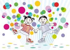 Szczęśliwa kreskówki chłopiec, dziewczyna i Zdjęcia Stock