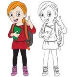 Szczęśliwa kreskówki dziewczyna iść z powrotem szkoła Obraz Royalty Free