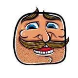Szczęśliwa kreskówki twarz z wąsami, wektorowa ilustracja Obrazy Royalty Free