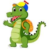 Szczęśliwa krokodyl kreskówka iść szkoła ilustracji