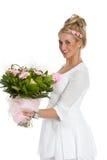 szczęśliwa kwiat dziewczyna Obrazy Royalty Free