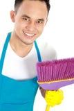 Szczęśliwa męska cleaning usługa Zdjęcia Royalty Free