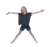Szczęśliwa młoda dziewczyna na białym tle Fotografia Royalty Free