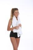 Szczęśliwa młoda kobieta Pracująca Out i Robić sprawności fizycznych aktywność obraz stock