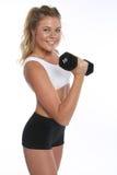 Szczęśliwa młoda kobieta Pracująca Out i Robić sprawności fizycznych aktywność obrazy royalty free