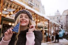 Szczęśliwa młoda kobieta trzyma smakowitych boże narodzenia piernikowi przeciw li Fotografia Stock