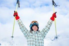 Szczęśliwa młoda narciarka Obraz Royalty Free