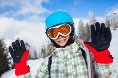 Szczęśliwa młoda narciarka Zdjęcie Royalty Free