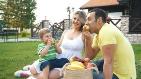 Szczęśliwa młoda rodzina ma pinkin na gazonie zdjęcie wideo