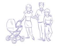 Szczęśliwa młoda rodzina z dzieckiem i dzieckiem w spacerowiczu, ręka rysująca, pióra nakreślenia wektoru ilustracja ilustracja wektor