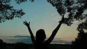Szczęśliwa młodej kobiety sylwetka przeciw nieb dźwignięciom wręcza up w powietrzu zbiory wideo