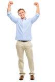 Szczęśliwa młody człowiek odświętność z rękami up odizolowywać na białym backg Zdjęcia Royalty Free