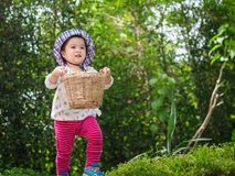Szczęśliwa mała śliczna dziewczyna trzyma bieg w Gard i kosz zdjęcie stock