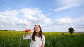 Szczęśliwa mała dziewczynka bawić się wśród mydlanych bąbli na zielonej łące w lecie zbiory