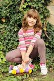 Szczęśliwa mała dziewczynka z figlarką Fotografia Royalty Free