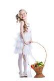 Szczęśliwa mała dziewczynka z owoc Obrazy Royalty Free