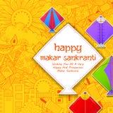 Szczęśliwa Makar Sankranti tapeta z kolorowym kania sznurkiem ilustracji
