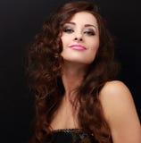 Szczęśliwa makeup kobieta z jaskrawym makeup zbliżenia twarzy portreta kobieta Zdjęcia Stock