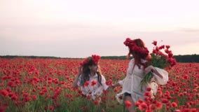 Szczęśliwa mama i córka biegamy przez kwitnącego maczka pola przy zmierzchem, zwolnione tempo zdjęcie wideo