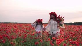 Szczęśliwa mama i córka biegamy przez kwitnącego maczka pola przy zmierzchem, zwolnione tempo zbiory wideo