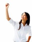 szczęśliwa markiera pióra kobieta pisze Zdjęcie Royalty Free