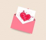 Szczęśliwa matka dnia karta z kopertowym sercem Obraz Stock