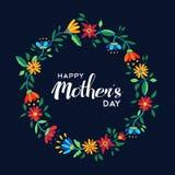 Szczęśliwa matka dnia kwiatu wianku ilustracja Obrazy Royalty Free