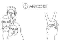 Szczęśliwa Międzynarodowa kobiety ` s dnia karta Ciągły kreskowy rysunek Obrazy Stock