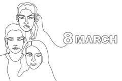 Szczęśliwa Międzynarodowa kobiety ` s dnia karta Ciągły kreskowy rysunek Obraz Royalty Free