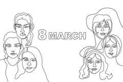 Szczęśliwa Międzynarodowa kobiety ` s dnia karta Ciągły kreskowy rysunek Fotografia Royalty Free