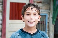Szczęśliwa mokra chłopiec Obrazy Royalty Free