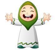 Szczęśliwa Muzułmańska dzieciak kreskówki falowania ręka odizolowywająca na białym tle ilustracja wektor