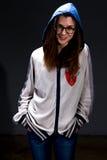 Szczęśliwa nastolatek dziewczyna w cieniu Obraz Royalty Free