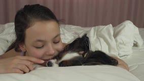 Szczęśliwa nastoletnia dziewczyna całuje i bawić się z psim Papillon w łóżko zapasu materiału filmowego wideo zbiory wideo
