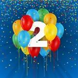 Szczęśliwa 2nd urodziny, rocznicy karta z balonami/ royalty ilustracja
