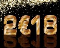 Szczęśliwa Nowa 2018 rok euro karta, wektor Fotografia Royalty Free