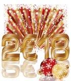 Szczęśliwa Nowa 2018 rok euro złota karta, wektor Zdjęcia Royalty Free