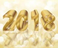 Szczęśliwa Nowa 2018 rok złota karta Fotografia Royalty Free