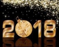 Szczęśliwa Nowa 2018 rok złota karta, wektor Obraz Stock