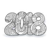 Szczęśliwa nowego roku świętowania 2018 liczba Wektorowa Xmas ilustracja w zentangle Zdjęcie Royalty Free