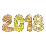 Szczęśliwa nowego roku świętowania 2018 liczba Wektorowa Xmas ilustracja w zentangle Zdjęcia Royalty Free
