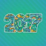 Szczęśliwa nowego roku świętowania 2017 liczba Wektorowa Xmas ilustracja w zentangle Fotografia Stock