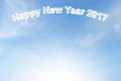 Szczęśliwa nowego roku 2017 chmura i światło słoneczne na niebieskim niebie Fotografia Royalty Free