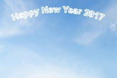 Szczęśliwa nowego roku 2017 chmura na niebieskim niebie Zdjęcie Stock