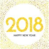 Szczęśliwa nowego roku 2018 etykietka z żółtymi confetti Obrazy Royalty Free