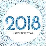 Szczęśliwa nowego roku 2018 etykietka z błękitnymi confetti Zdjęcie Stock