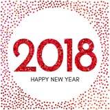 Szczęśliwa nowego roku 2018 etykietka z czerwonymi confetti Zdjęcie Stock